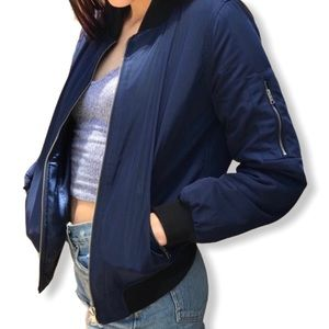 Kendall & Kylie Navy Bomber Jacket Size M